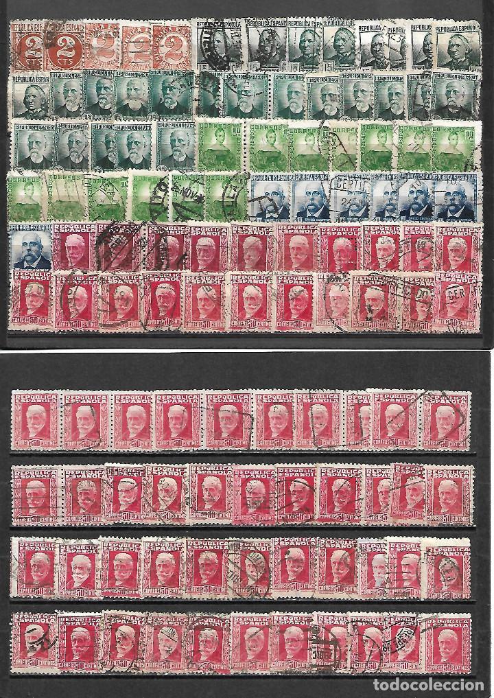 GRAN LOTE DE SELLOS DE LA REPUBLICA MATASELLADOS VER FOTOS (Sellos - España - II República de 1.931 a 1.939 - Usados)