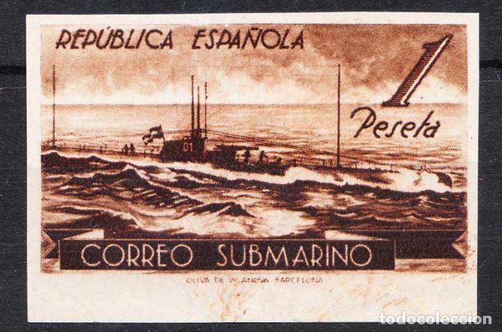 1938 CORREO SUBMARINO VARIEDAD CAMBIO DE COLOR 1 PESETA SIN FIJASELLOS (Sellos - España - II República de 1.931 a 1.939 - Nuevos)