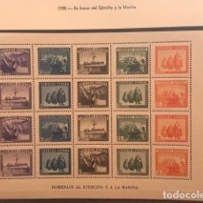 Sellos: EDIFIL 849 HB MNH EN HONOR DEL EJERCITO Y LA MARINA SELLOS ESPAÑA 1938 HOJITA. Lote 223699557