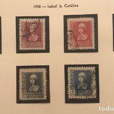 Sellos: EDIFIL 855 860 º ISABEL LA CATOLICA SELLOS ESPAÑA 1938 EXCELENTE CENTRADO. Lote 223716087