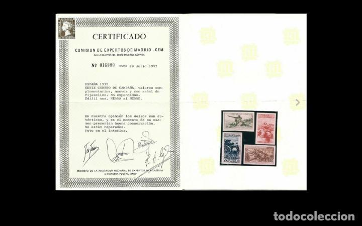 Sellos: ESPAÑA-1939 - II REPUBLICA - EDIFIL NE55A/NE 55D-F - SERIE COMPLETA -(*)- NUEVOS - + CPA CERT. COMEX - Foto 2 - 224239081