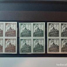 Sellos: 3 BLOQUES 4 SELLOS BARCELONA AÑO 1940 EDIFIL 26/28 SIN DENTAR 240 EUROS CATALOGO. Lote 224903050