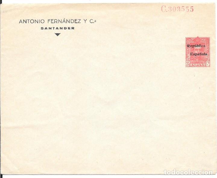 SOBRE ENTERO POSTAL 25 CTS DE VAQUER CON SOBRECARGA REPUBLICA ESPAÑOLA (Sellos - España - II República de 1.931 a 1.939 - Cartas)