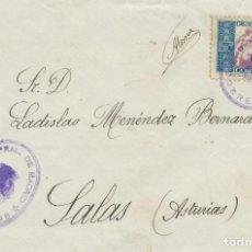 Sellos: 1935. CIRCULADO CON FRANQUICIA DE MADRID A SALAS (ASTURIAS). SELLO BENEFIC. Nº 1 HUÉRFANOS CORREOS.. Lote 225910285