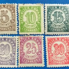 Sellos: NUEVO *. AÑO 1938. EDIFIL 745, 746, 747, 748, 749, 750. CIFRAS. SERIE COMPLETA. FIJASELLO. Lote 226603105