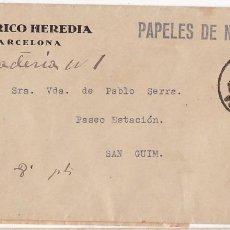 Timbres: F29-3- CARTA BARCELONA -SAN GUIM 1936. ETIQUETA RECADERO LLUIS SERRA SAN GUIM. Lote 227135485