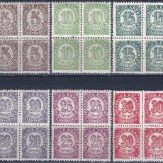 Timbres: EDIFIL 745-750 CIFRAS. 1938 (SERIE COMPLETA EN BLOQUES DE 4). EXCELENTE CENTRADO. MNH **. Lote 227599670