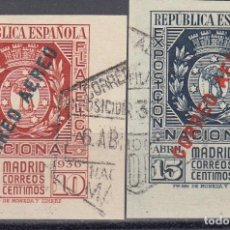 Sellos: ESPAÑA 729 / 730 - EXPO FILAT.MADRID AEREA 1936. SERIE USADA LUJO. CAT. 350€.. Lote 38817205