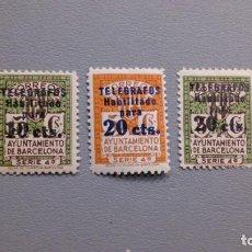 Sellos: ESPAÑA - 1936-38 - BARCELONA TELEGRAFOS - EDIFIL 10/12 - SERIE COMPLETA - MNH** - NUEVOS - VALOR 51€. Lote 231350850