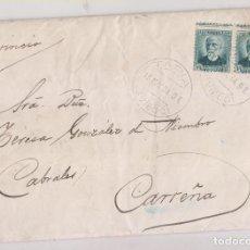 Sellos: SOBRE. CONSERVA LA CARTA. TAPIA A CARREÑA DE CABRALES. ASTURIAS. 1934. SALTO DE PEINE. Lote 231710350