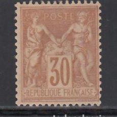 Sellos: FRANCIA. 1876-78 YVERT Nº 80 (*). SAGE, 30 C BRUN-JAUNE. TIPO II. Lote 231807880