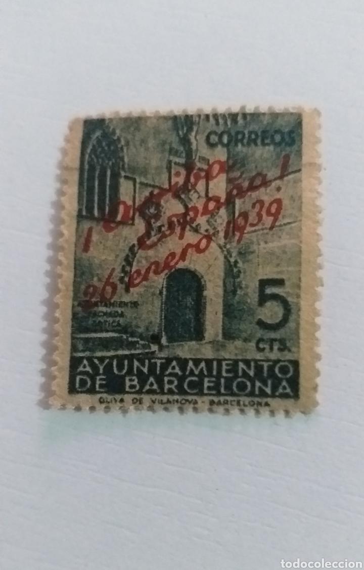 SELLO AYUNTAMIENTO DE BARCELONA (Sellos - España - II República de 1.931 a 1.939 - Usados)