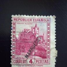 Sellos: REPUBLICA ESPAÑOLA 4 PTAS SEGOVIA ALCAZAR 1938.. Lote 233736825