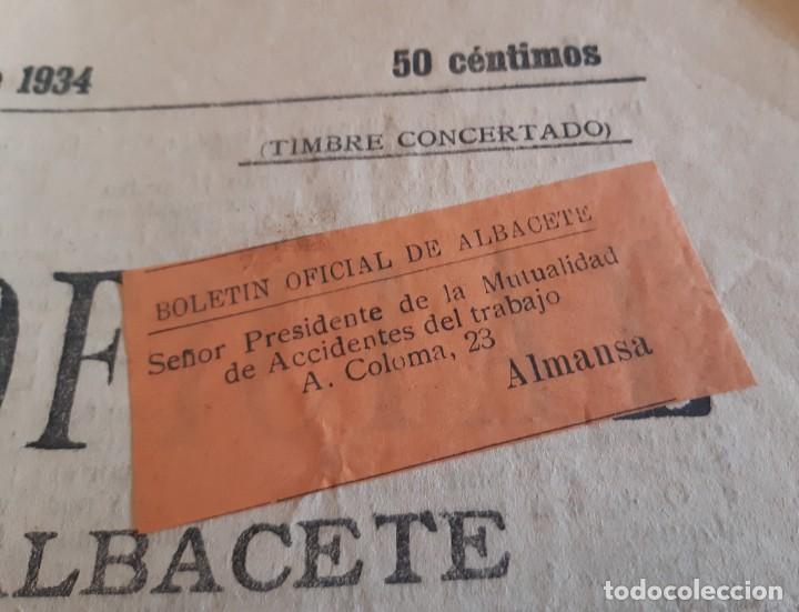 Sellos: BOLETIN OFICIAL DE ALBACETE REMITIDO A ALMANSA CON FAJA FRANQUEO CONCERTADO. 1934 - Foto 3 - 234902940