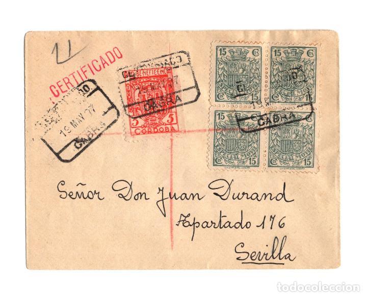 RARO SELLO CARTERÍA. CABRA.(CÓRDOBA). FRANQUEADO CON BLOQUE DE 4 SELLOS FISCALES 15 CTS. 1937. (Sellos - España - II República de 1.931 a 1.939 - Cartas)