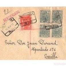 Sellos: RARA CARTERÍA. CABRA.(CÓRDOBA). FRANQUEADO CON BLOQUE DE 4 SELLOS FISCALES 15 CTS. 1937.. Lote 235121095