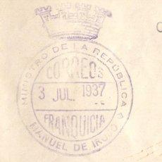 Sellos: RARISIMO MATASELLOS MINISTERIO DE LA REPÚBLICA MANUEL DE IRUJO. FRANQUICIA 1937. IDAZKARITZA OROKORA. Lote 235302555