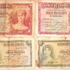 Sellos: LOTE 4 BILLETES 10 Y 5 PESETAS AÑO 1935. Lote 235455855