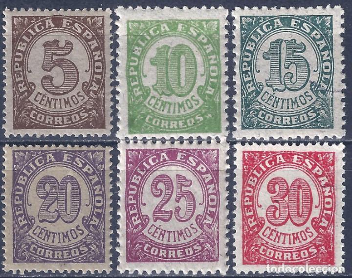 EDIFIL 745-750 CIFRAS. 1938 (SERIE COMPLETA). EXCELENTE CENTRADO. MNH ** (Sellos - España - II República de 1.931 a 1.939 - Nuevos)