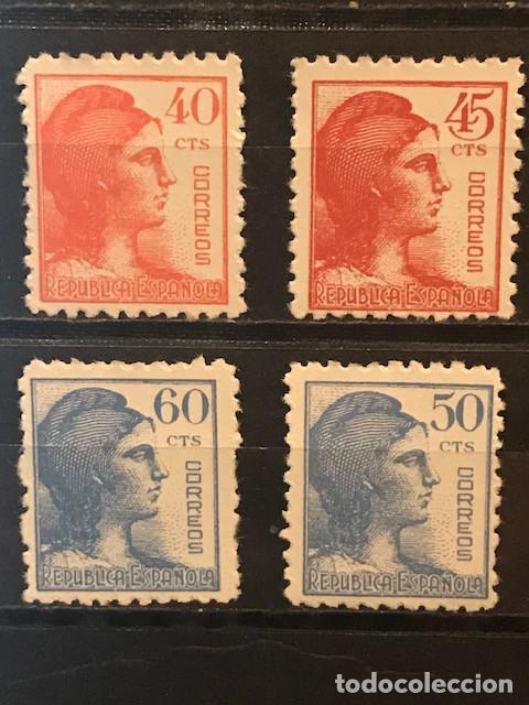 EDIFIL 751 754 SERIE COMPLETA MNH ** ESPAÑA AÑO 1938 ALEGORIA REPUBLICA (Sellos - España - II República de 1.931 a 1.939 - Usados)