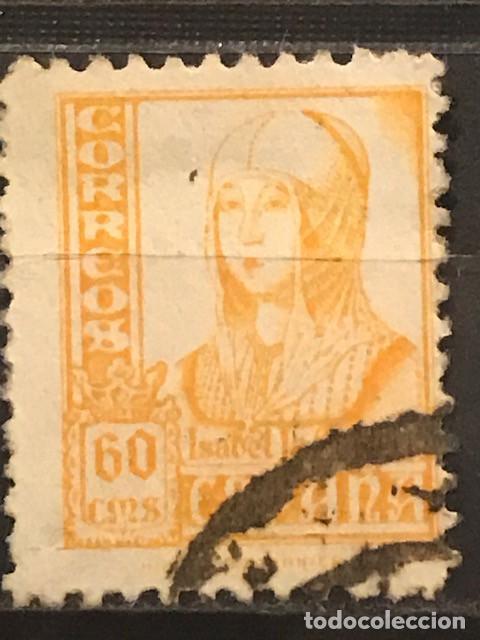 EDIFIL 826 SELLOS USADOS ESPAÑA AÑO 1937 1940 CIFRAS CID E ISABEL II (Sellos - España - II República de 1.931 a 1.939 - Usados)