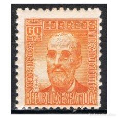 Sellos: [B0025] ESPAÑA 1938; PERSONAJES 60C. NARANJA (MNH). Lote 236858925