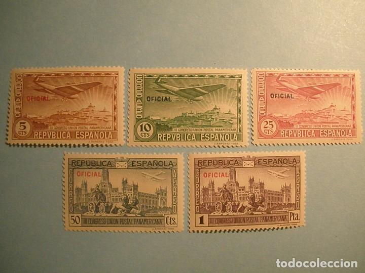 ESPAÑA 1931 - III CONGRESO UNIÓN POSTAL PANAMERICANA - EDIFIL 630/634 - OFICIAL - NUEVOS. (Sellos - España - II República de 1.931 a 1.939 - Nuevos)