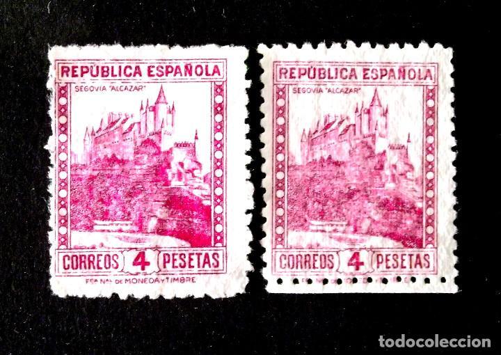 771, DOS SELLOS USADOS, SIN MATASELLAR. SEGOVIA. (Sellos - España - II República de 1.931 a 1.939 - Usados)