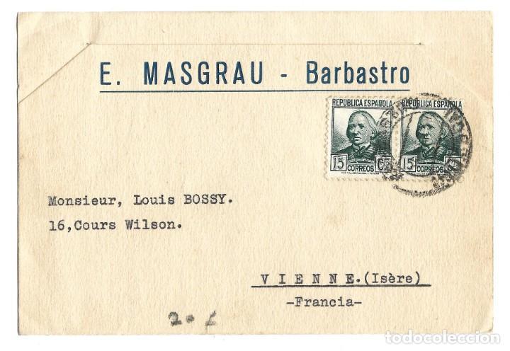 1933 CARTA TARJETA SOBRE SELLO REPÚBLICA BARBASTRO (HIESCA) A FRANCIA (Sellos - España - II República de 1.931 a 1.939 - Cartas)