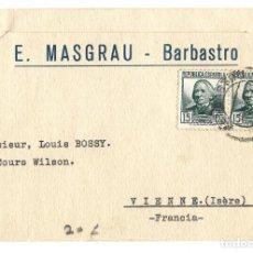 Francobolli: 1933 CARTA TARJETA SOBRE SELLO REPÚBLICA BARBASTRO (HIESCA) A FRANCIA. Lote 237213940