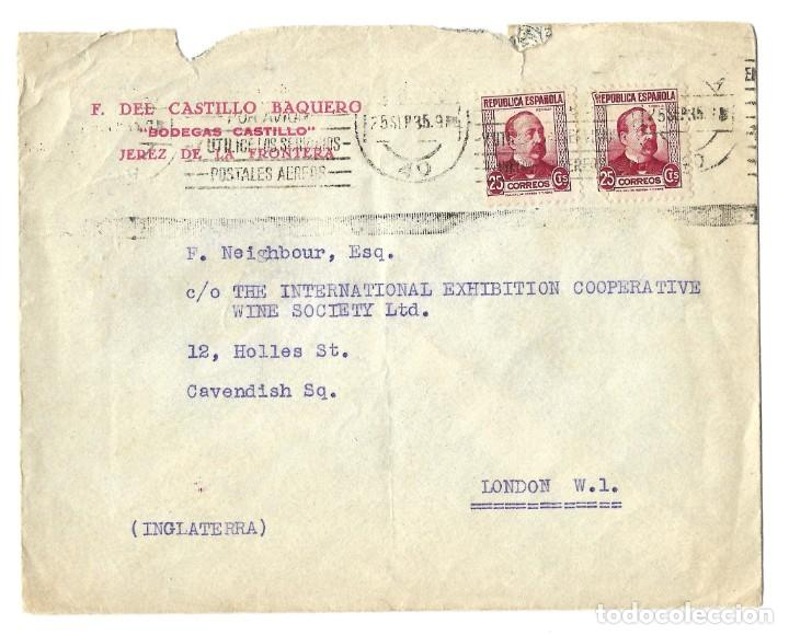 1935 CARTA SOBRE SELLO REPÚBLICA JEREZ DE LA FRONTERA (CÁDIZ) A INGLATERRA (Sellos - España - II República de 1.931 a 1.939 - Cartas)