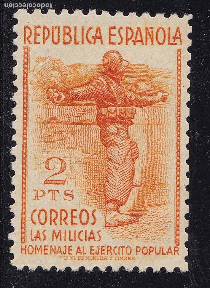 JJ20- MILICIAS 2 PTAS EDIFIL 798 NUEVO** SIN FIJASELLOS.. CENTRADO. MARQUILLADO (Sellos - España - II República de 1.931 a 1.939 - Nuevos)