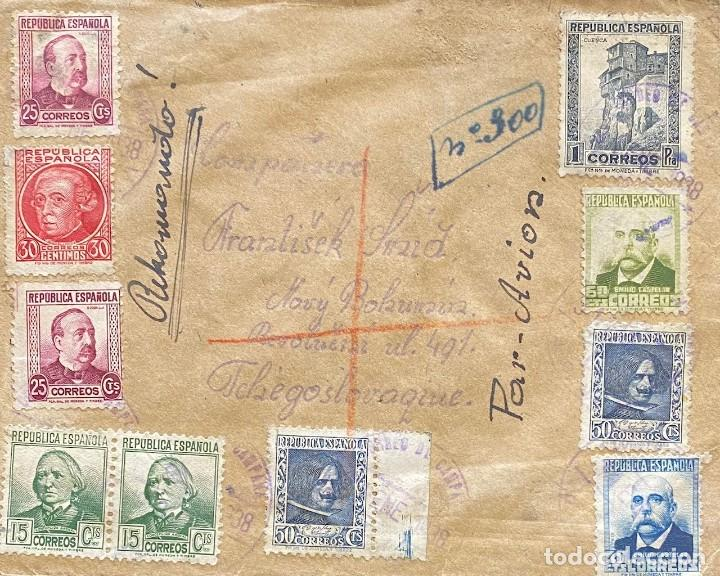 ESPAÑA, SEGUNDA REPÚBLICA, CARTA CIRCULADA EN EL AÑO 1938 (Sellos - España - II República de 1.931 a 1.939 - Cartas)