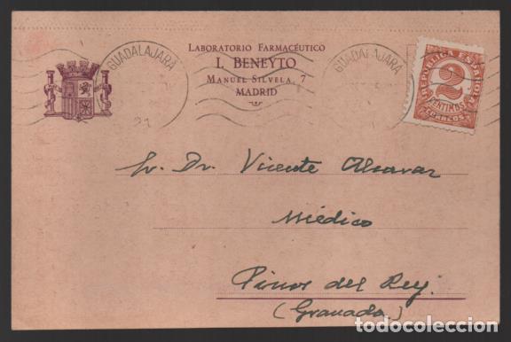 CARTA PUBLICITARIA LABORATORIOS,- ESCUDO DE REPUBLICA ESPAÑOLA, VER TOTOS (Sellos - España - II República de 1.931 a 1.939 - Cartas)