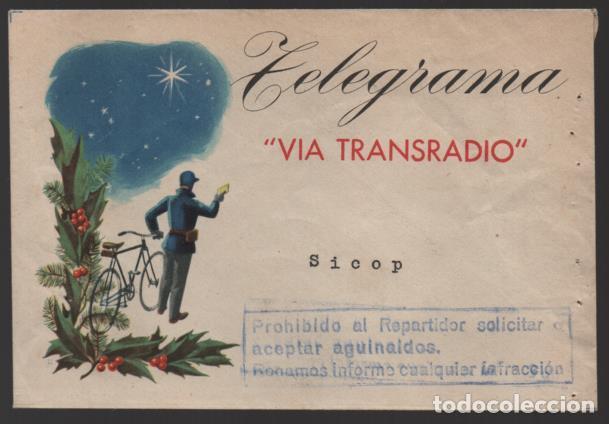 CARTA.- TELEGRAMA -VIA TRANSRADIO,- PROHIBIDO SOLICITAR O ACEPTAR AGUINALDO. VER FOTO (Sellos - España - II República de 1.931 a 1.939 - Cartas)