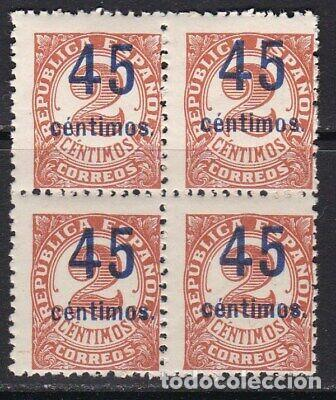EDIFIL 743 EN BLOQUE DE 4 MNH V.CAT 80 SELLOS NUEVOS ESPAÑA AÑO 1936 1938 CIFRAS HABILITADAS (Sellos - España - II República de 1.931 a 1.939 - Nuevos)