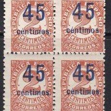 Sellos: EDIFIL 743 EN BLOQUE DE 4 MNH V.CAT 80 SELLOS NUEVOS ESPAÑA AÑO 1936 1938 CIFRAS HABILITADAS. Lote 239391125