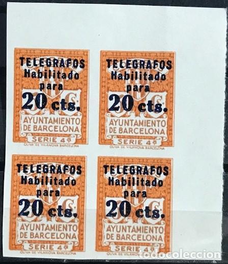 EDIFIL 11 SIN DENTAR BLOQUE DE 4 TELEGRAFOS BARCELONA MNH V.CAT360 AÑO1936 11S SERIE 4ª (Sellos - España - II República de 1.931 a 1.939 - Nuevos)