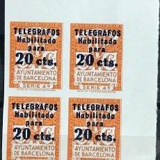 Sellos: EDIFIL 11 SIN DENTAR BLOQUE DE 4 TELEGRAFOS BARCELONA MNH V.CAT360 AÑO1936 11S SERIE 4ª. Lote 239483270