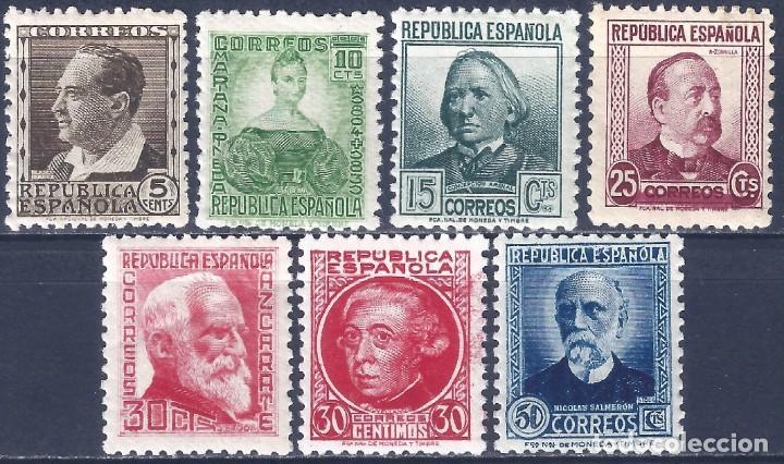EDIFIL 681-688 PERSONAJES 1933-1935 (SERIE COMPLETA) (VARIEDAD...686T SIN PIE DE IMPRENTA). MNH ** (Sellos - España - II República de 1.931 a 1.939 - Nuevos)