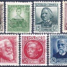 Sellos: EDIFIL 681-688 PERSONAJES 1933-1935 (SERIE COMPLETA) (VARIEDAD...686T SIN PIE DE IMPRENTA). MNH **. Lote 243099900