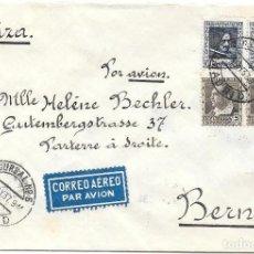 Sellos: EDIFIL 663 (PAR) - 692 (PAR). DE MADRID A BERNA - SUIZA POR CORREO AEREO.1937. Lote 243132990
