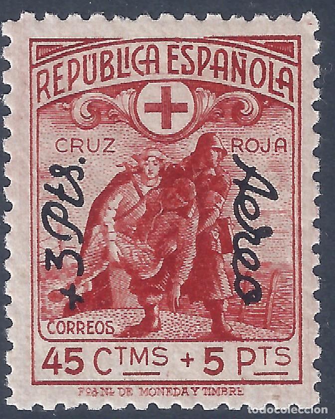 EDIFIL 768 CRUZ ROJA ESPAÑOLA 1938. HABILITADO +3 PTS. AÉREO. VALOR CATÁLOGO: 31 €. MLH. (Sellos - España - II República de 1.931 a 1.939 - Nuevos)