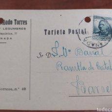 Sellos: CORREO , TARJETA POSTAL GRANADA , REPÚBLICA ESPAÑOLA 1935. Lote 243759810