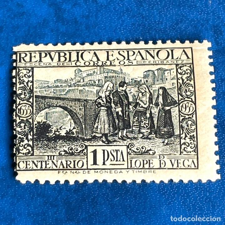 1935 EDIFIL 693 NUEVO REPUBLICA ESPAÑOLA SELLO 1 PESETA CENTENARIO DE LOPE DE VEGA (Sellos - España - II República de 1.931 a 1.939 - Nuevos)
