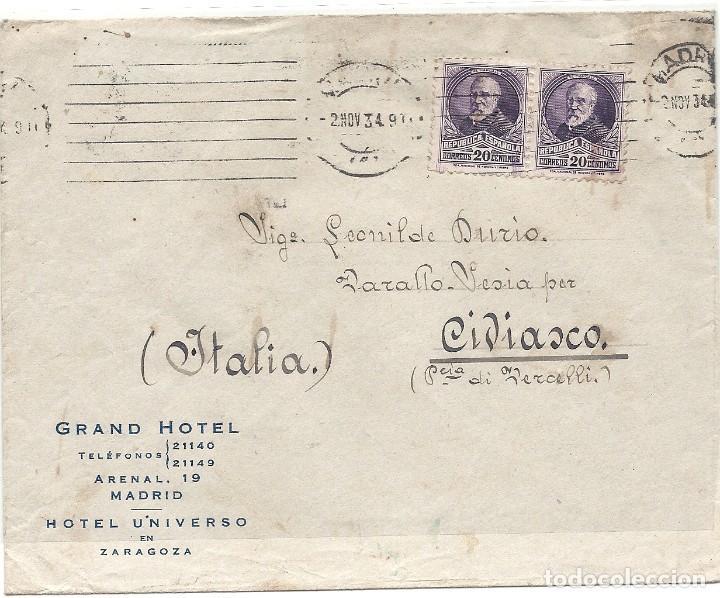 II REPÚBLICA ESPAÑOLA. AÑO 1934. CARTA CIRCULADA MADRID - ITALIA. (Sellos - España - II República de 1.931 a 1.939 - Cartas)