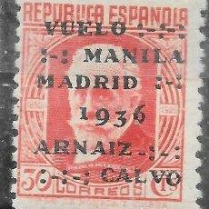 Sellos: EDIFIL 741 NNH SERIE COMPLETA SELLOS NUEVOS DE ESPAÑA AÑO 1936 VUELO MADRID MANILA. Lote 245248345