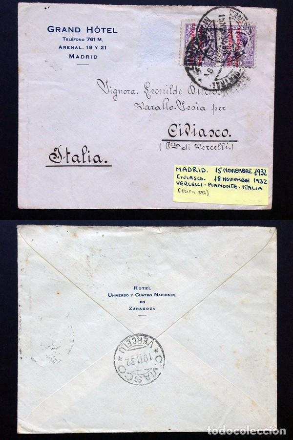 ESPAÑA.II REPÚBLICA. AÑO 1932.CARTA CIRCULADA MADRID-ITALIA. (Sellos - España - II República de 1.931 a 1.939 - Cartas)