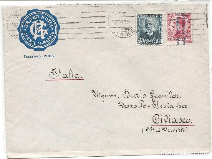 ESPAÑA - II REPÚBLICA. AÑO 1932.CARTA CIRCULADA.MADRID - ITALIA. (Sellos - España - II República de 1.931 a 1.939 - Cartas)
