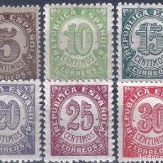Sellos: EDIFIL 745-750 CIFRAS. 1938 (SERIE COMPLETA). EXCELENTE CENTRADO. MNH **. Lote 245558320